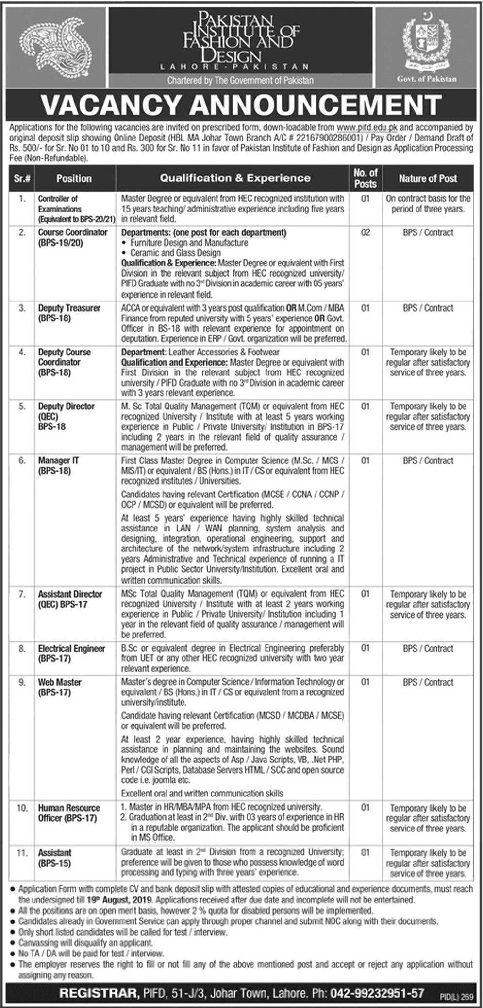 Pakistan Institute Of Fashion Design Pifd Lahore Jobs