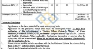 Ministry-of-Water-Resources-MOWR-Islamabad-Jobs-15-Jan-2021