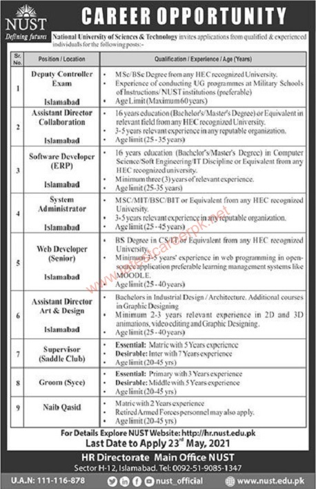 National-University-of-Sciences-And-Technology-NUST-Islamabad-Jobs-10-May-2021