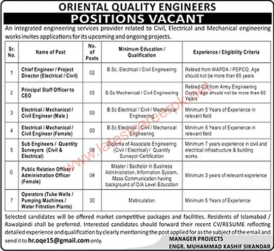 Oriental-Quality-Engineers-Pvt-Limited-Islamabad-Jobs-02-May-2021