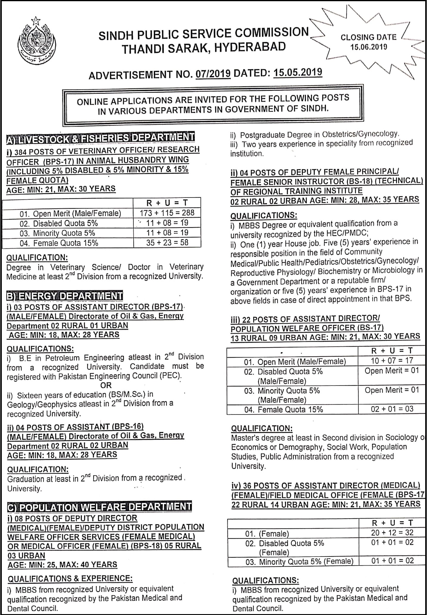 Sindh-Public-Service-Commission-SPSC-07-Sindh-Jobs-17-May-2019