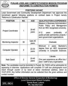 Local Government & Community Development Department Lahore Jobs