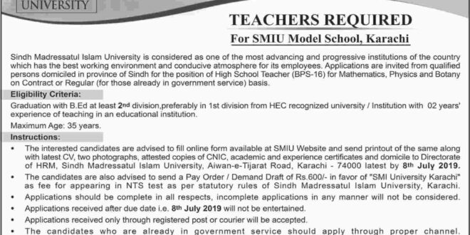 SMIU Model School Karachi Jobs
