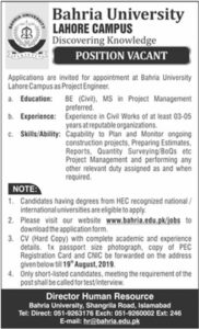 Bahria-University-BU-Lahore-Campus-Jobs-04-Aug-2019