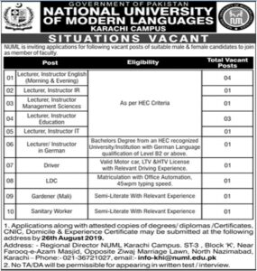 National-University-of-Modern-Languages-NUML-Karachi-Jobs-20-Aug-2019