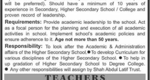 Shah-Abdul-Latif-Boys-Higher-Secondary-School-Gulistan-Karachi-Jobs-19-Aug-2019