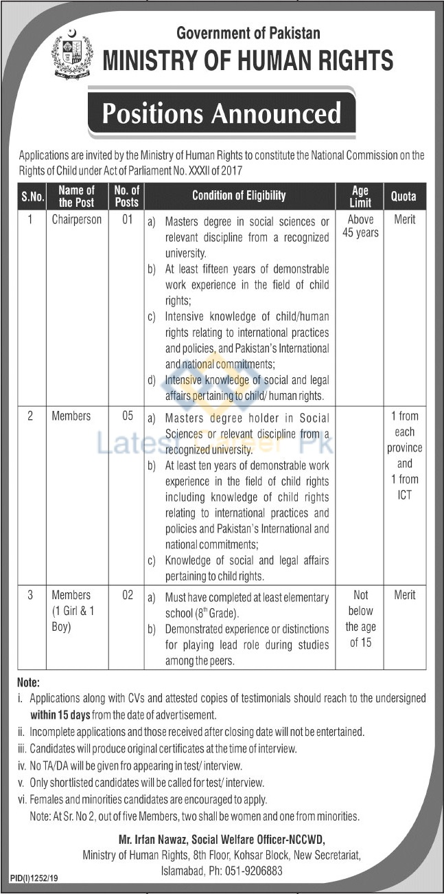 Govt-of-Pakistan-Ministry-of-Human-Rights-Islamabad-Jobs-12-Sep-2019