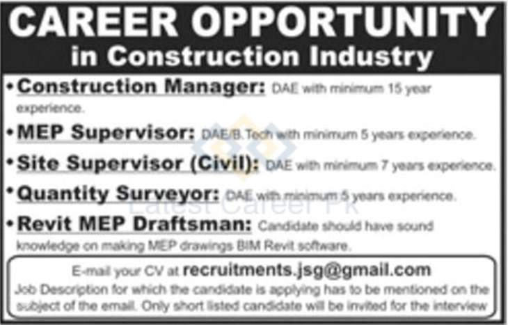 JSG Construction Industry (Pvt ) Company Lahore Jobs