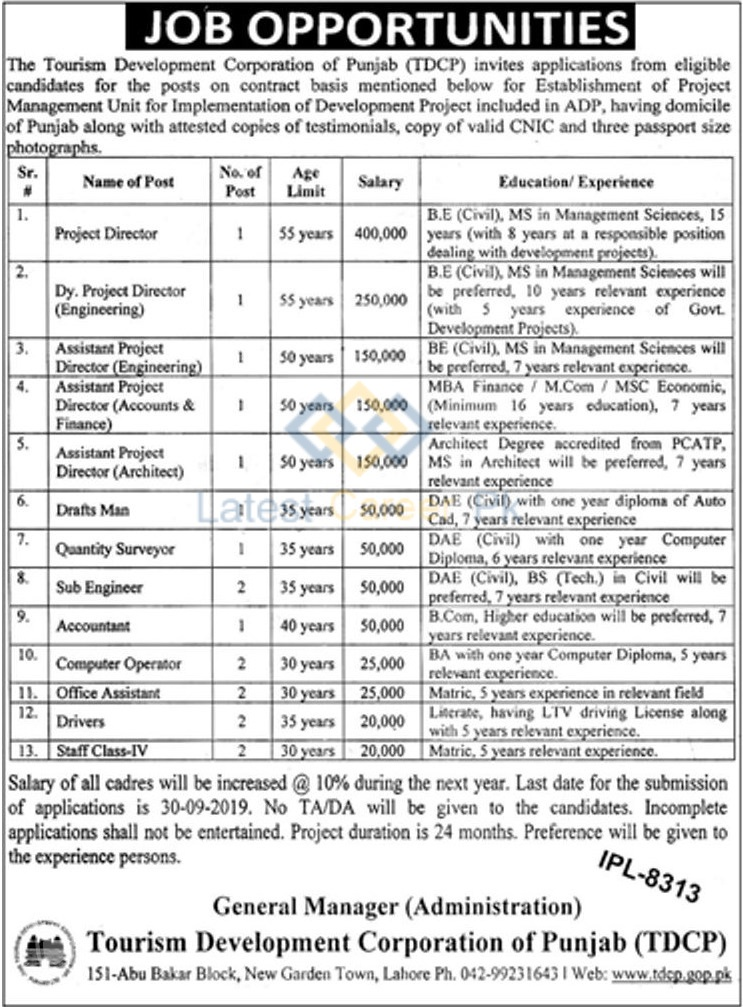 The-Tourism-Development-Corporation-TDCP-Lahore-Jobs-12-Sep-2019
