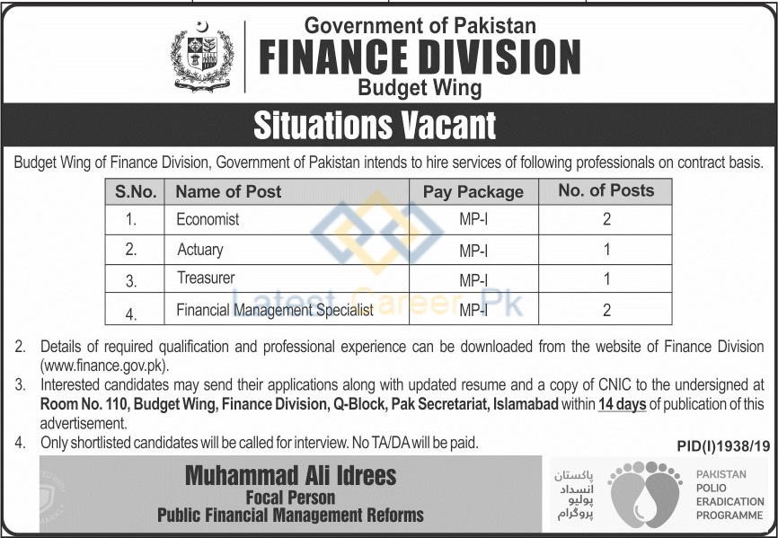 Government-of-Pakistan-Finance-Division-Islamabad-Jobs-13-Oct-2019