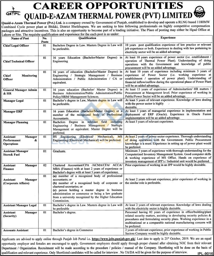 Quaid-e-Azam-Thermal-Power-Pvt-Limited-Lahore-Jobs-03-Oct-2019