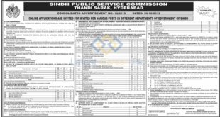 Sindh-Public-Service-Commission-SPSC-10-Sindh-Jobs-22-Oct-2019