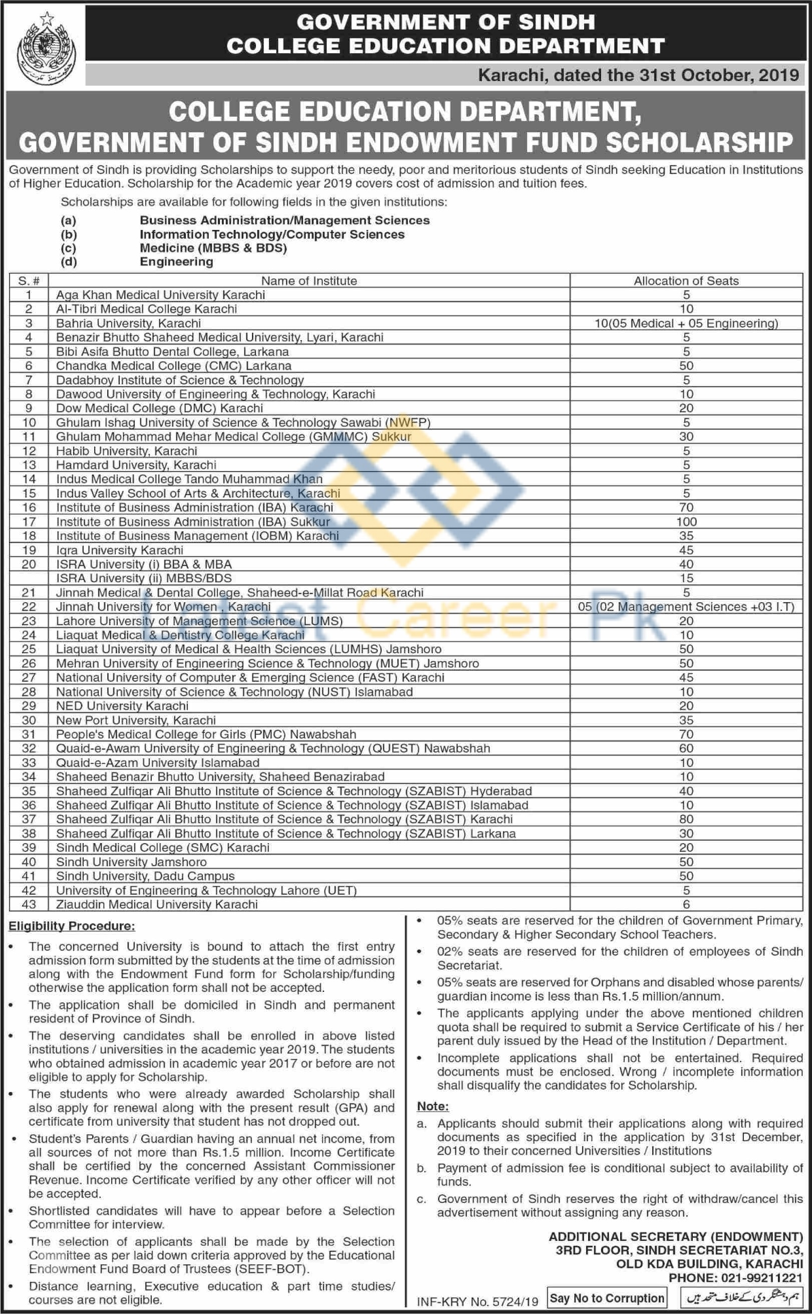 Government-of-Sindh-Endowment-Fund-Scholarships-2019