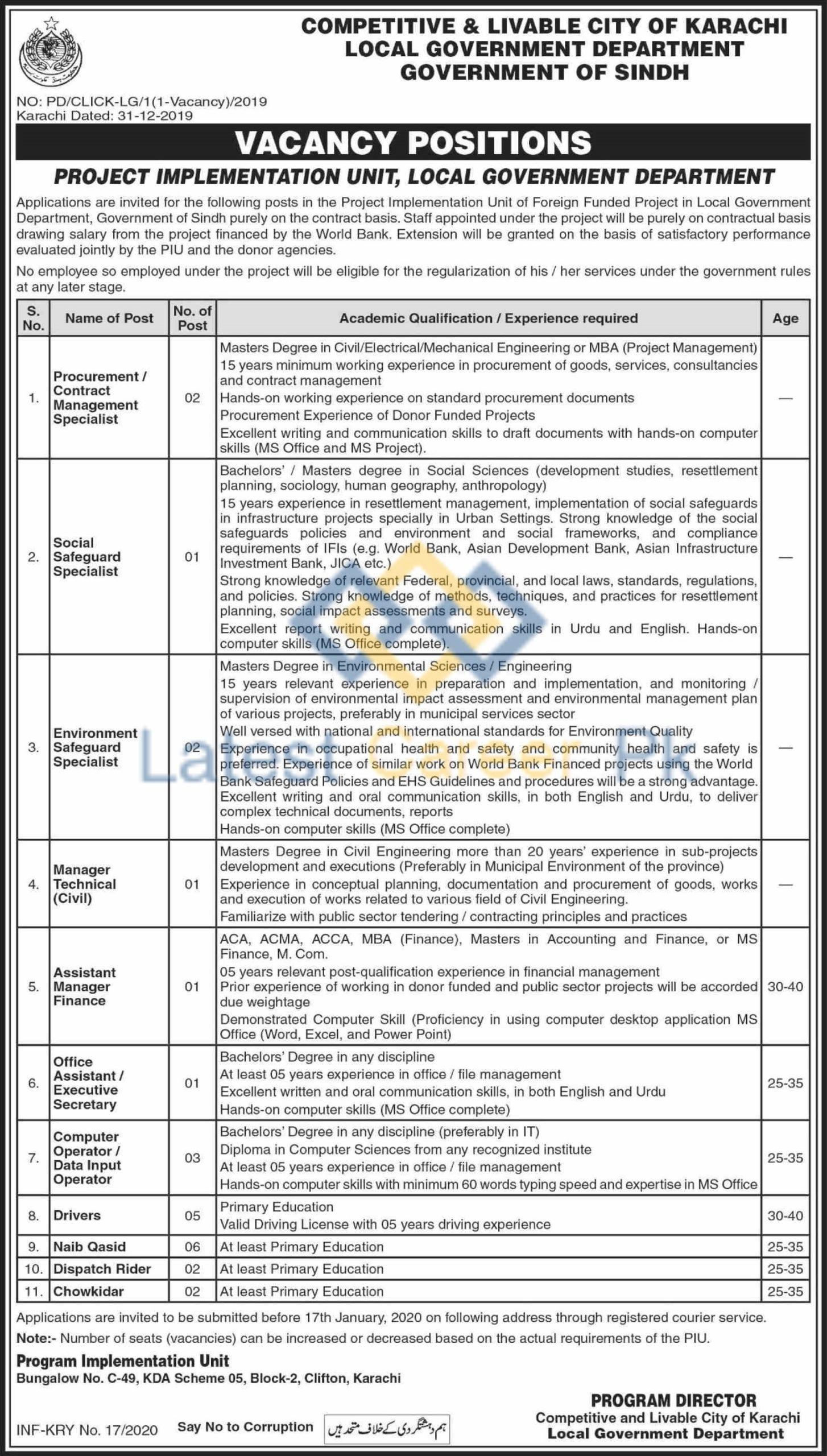 Govt-of-Sindh-Local-Government-Department-Karachi-Jobs-03-Jan-2020