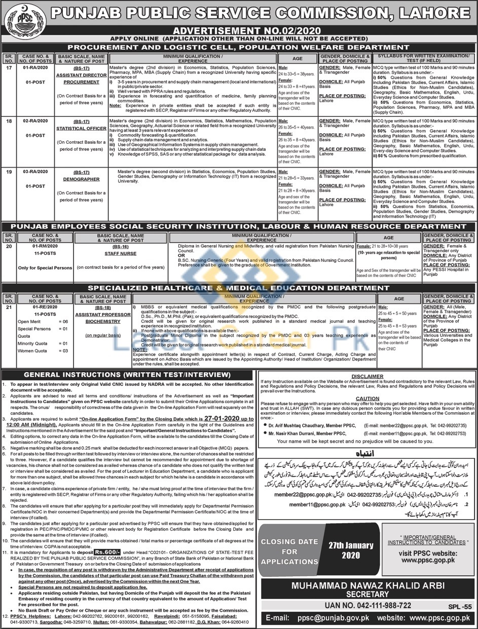 Punjab-Public-Service-Commission-PPSC-02-2020-Punjab-Jobs-12-Jan-2020