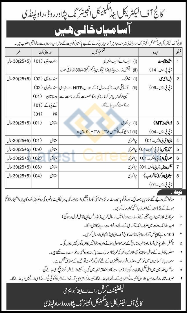 College-of-Electrical-and-Mechanical-Engineering-CEME-Rawalpindi-Jobs-19-Apr-2020
