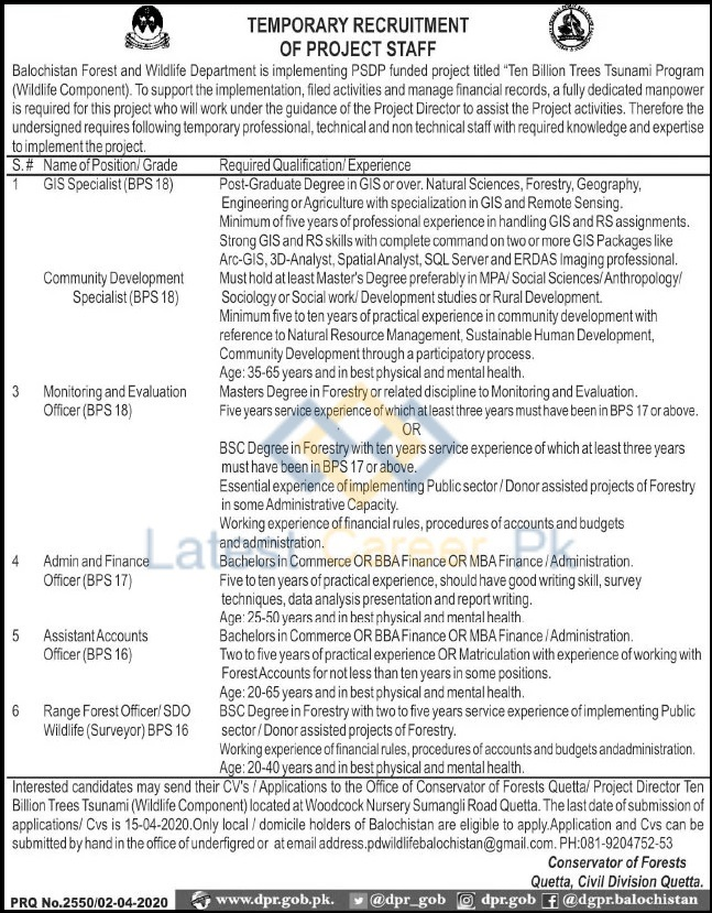Govt-of-Balochistan-Forest-and-Wildlife-Department-Quetta-Jobs-03-Apr-2020