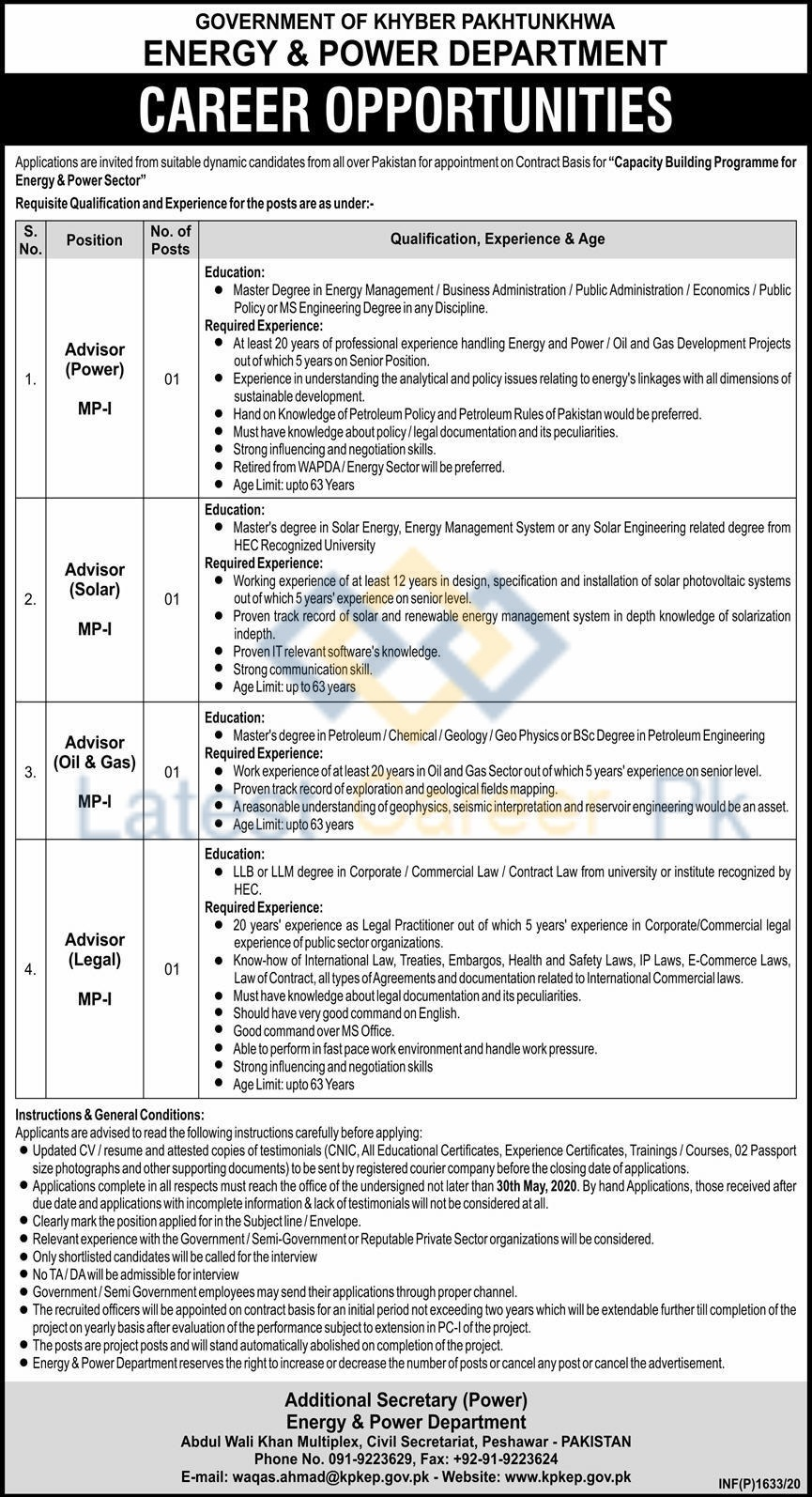 Govt-of-Khyber-Pakhtunkhwa-Energy-and-Power-Department-Peshawar-Jobs-09-May-2020