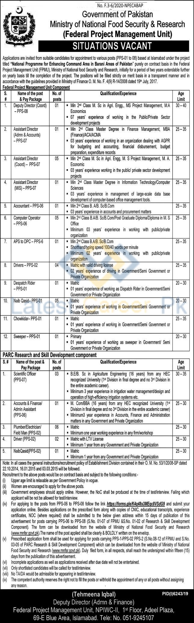 Ministry-of-National-Food-Security-and-Research-MNFSR-Islamabad-Jobs-20-May-2020