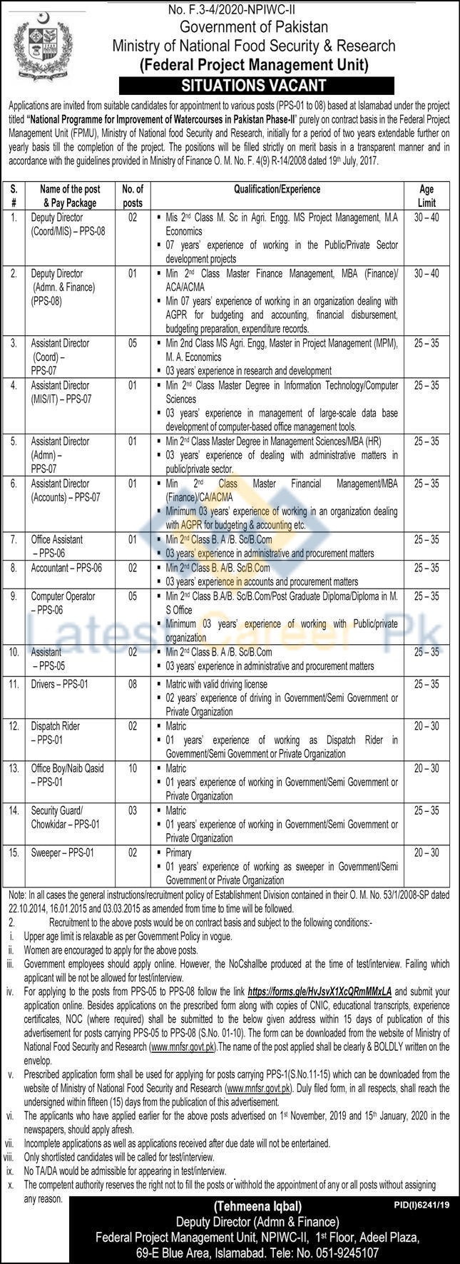Ministry-of-National-Food-Security-and-Research-MNFSR-Lahore-Jobs-21-May-2020