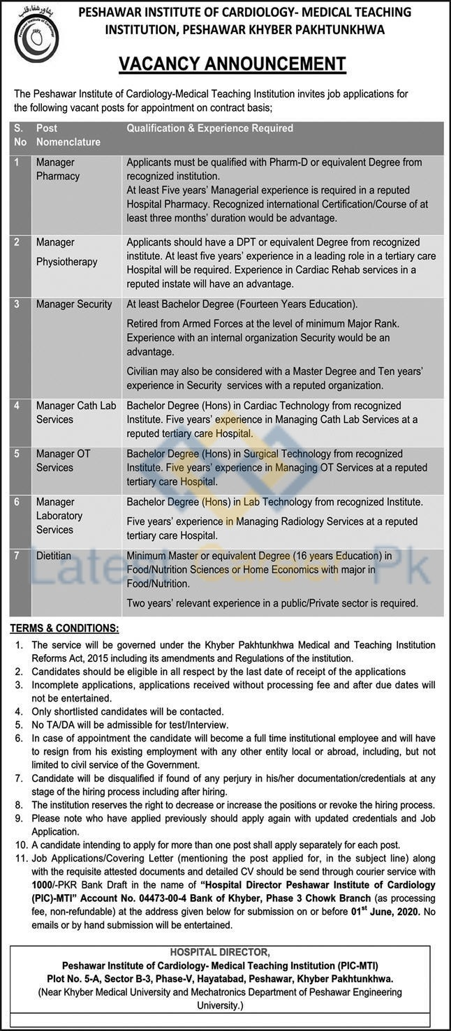 Peshawar-Institute-of-Cardiology-PIC-Peshawar-Jobs-13-May-2020-02