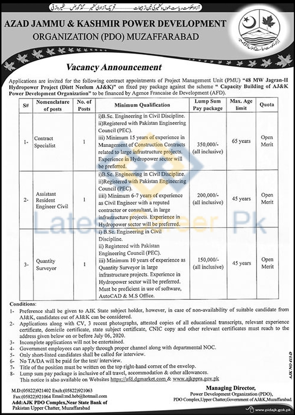 Azad-Jammu-and-Kashmir-Power-Development-Organization-Muzaffarabad-Jobs-05-Jun-2020