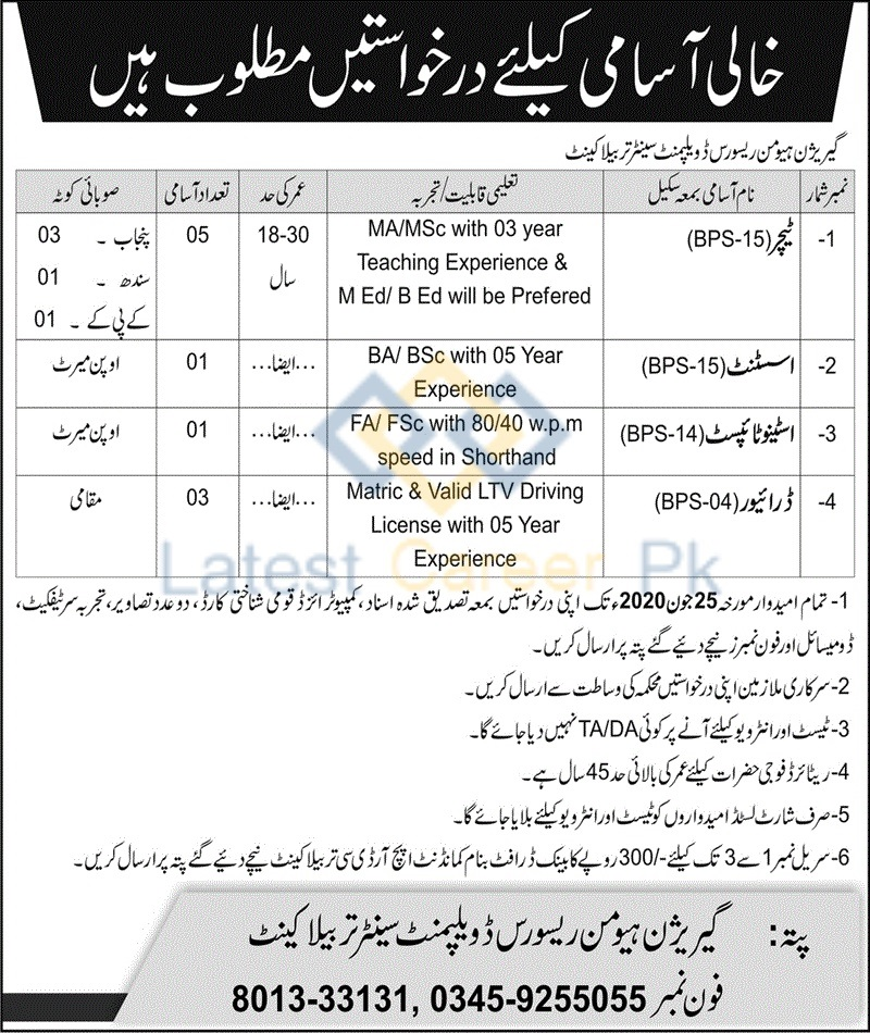 Garrison-Human-Resource-Development-Centre-Tarbela-Cantt-Jobs-15-June-2020