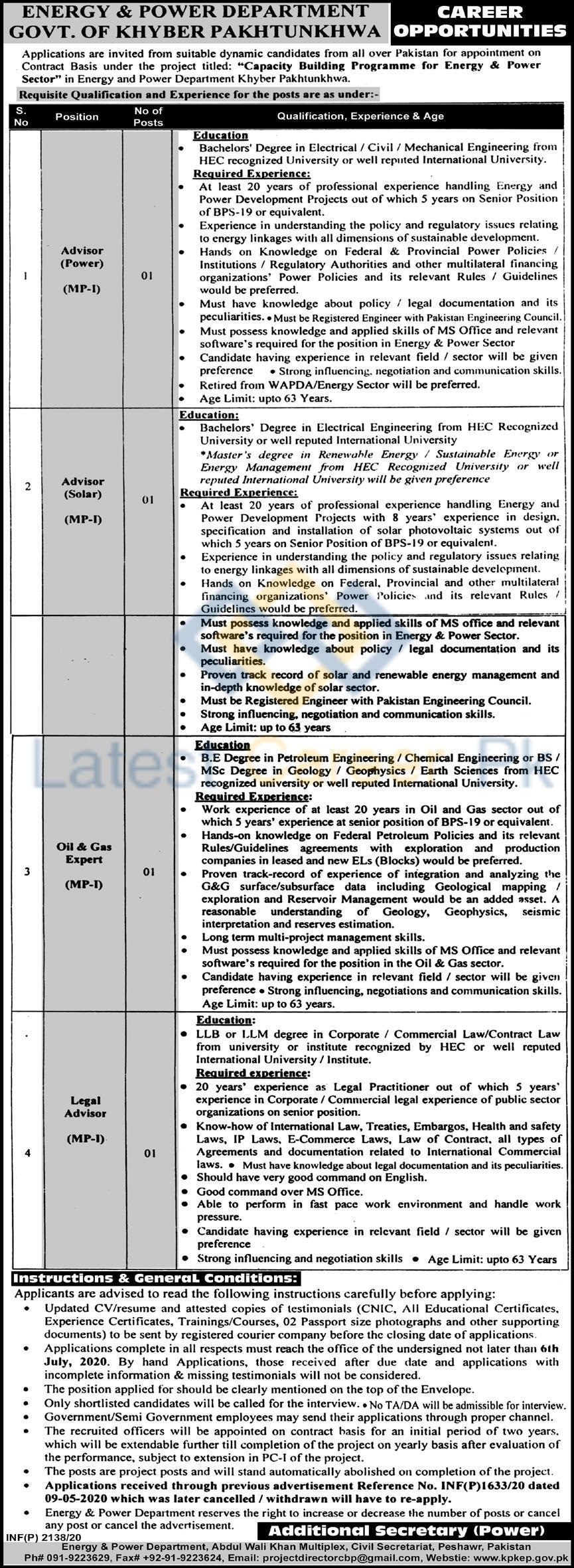 Govt-of-Khyber-Pakhtunkhwa-Energy-and-Power-Department-Peshawar-Jobs-18-June-2020