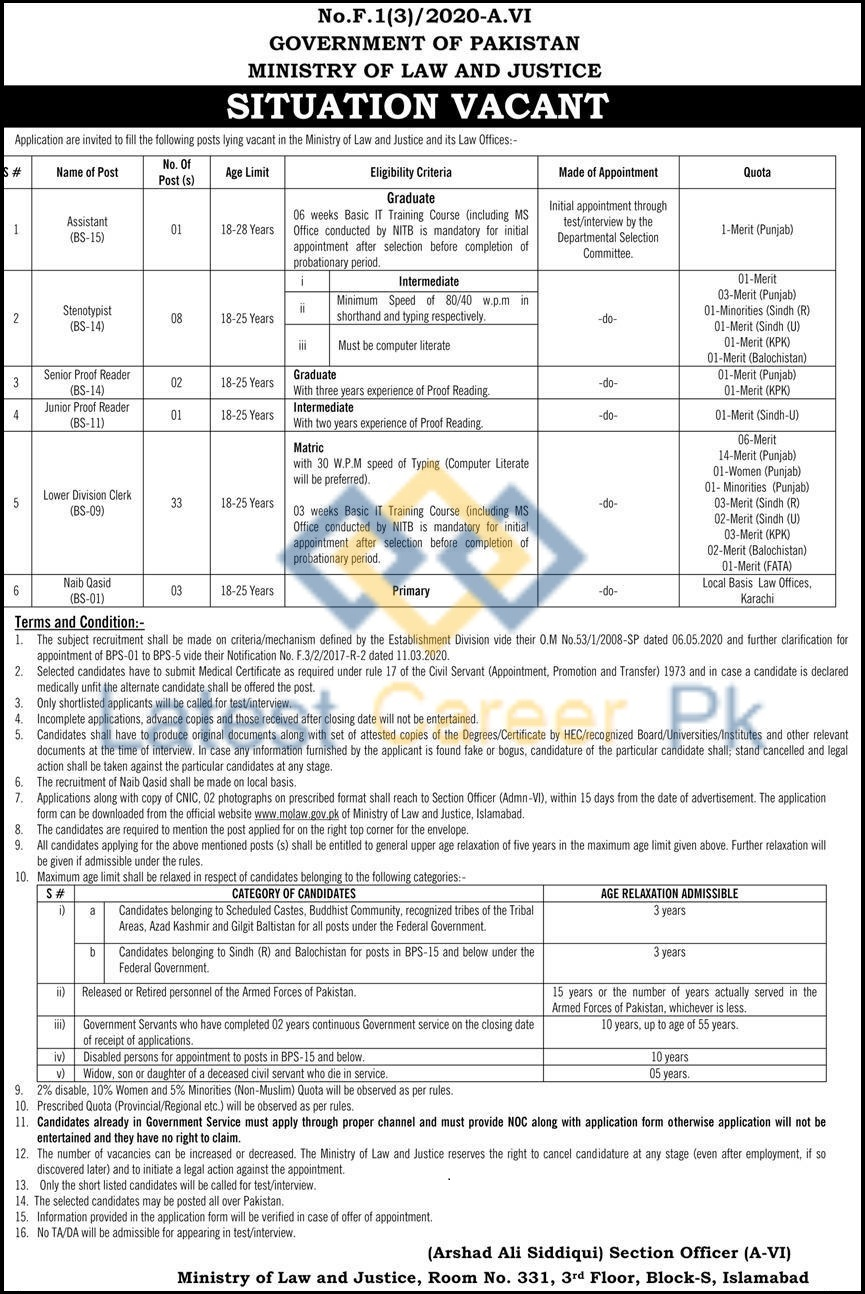 Ministry-of-Law-and-Justice-MoLAW-Islamabad-Jobs-28-June-2020