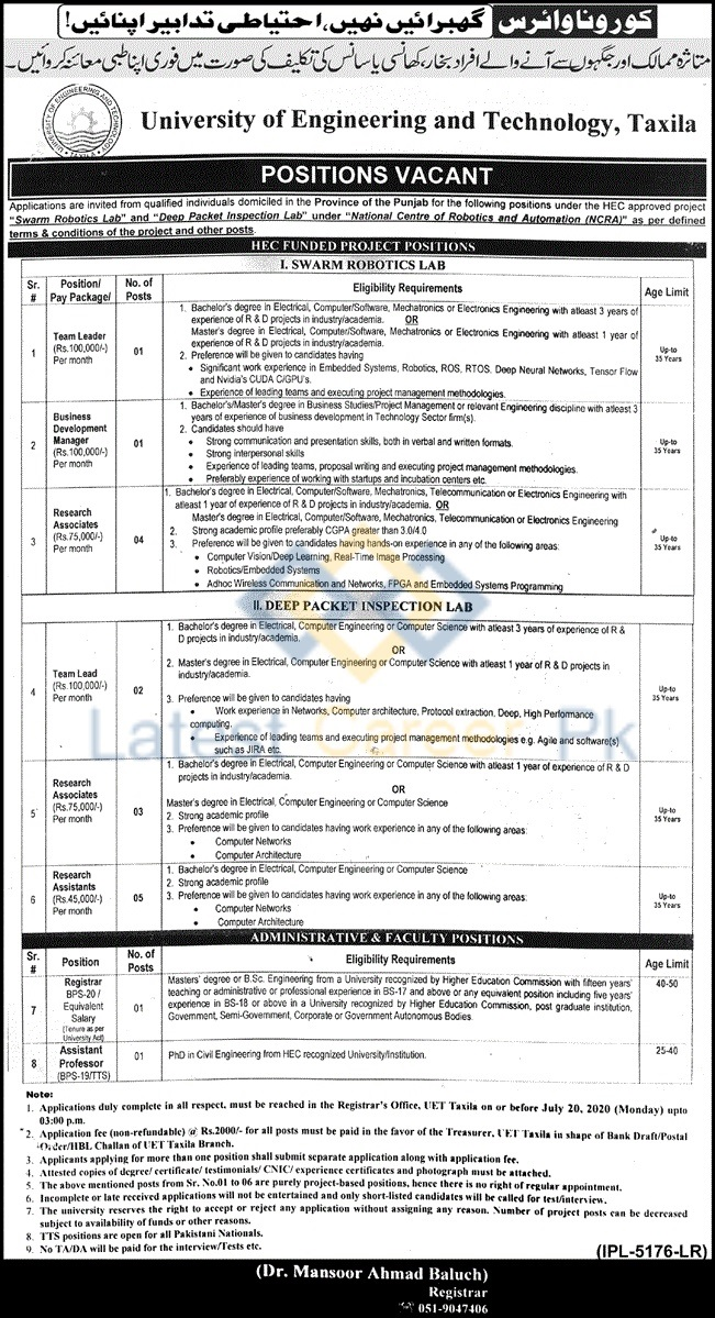 University-of-Engineering-and-Technology-UET-Taxila-Jobs-20-June-2020