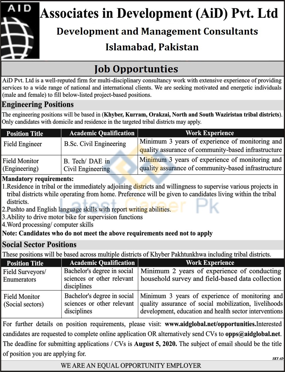 Associate-in-Development-AID-Pvt-Limited-Khyber-Pakhtunkhwa-Jobs-19-July-2020