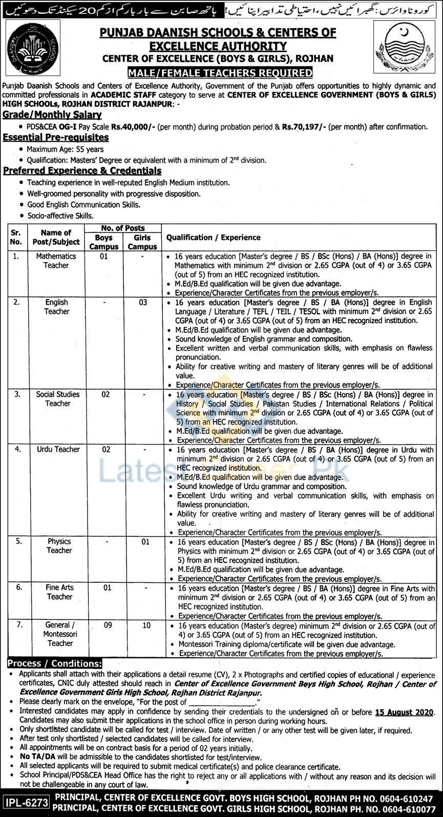 Government-Boys-and-Girls-High-School-Rojhan-District-Rajanpur-Job-28-July-2020