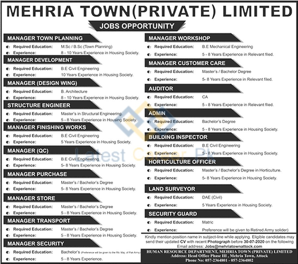 Mehria-Town-Private-Limited-Attock-Jobs-19-July-2020