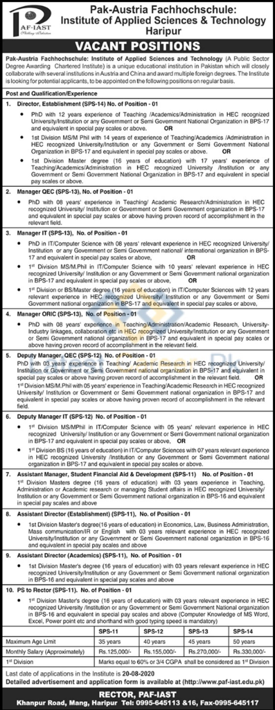 PAF-Institute-of-Applied-Sciences-and-Technology-PAFIAST-Haripur-Jobs-18-July-2020-01