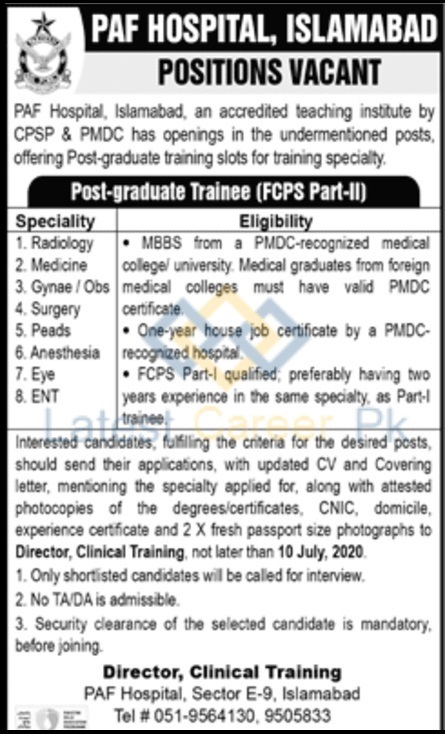 PAF-Pakistan-Air-Force-Hospital-Islamabad-Jobs-30-June-2020