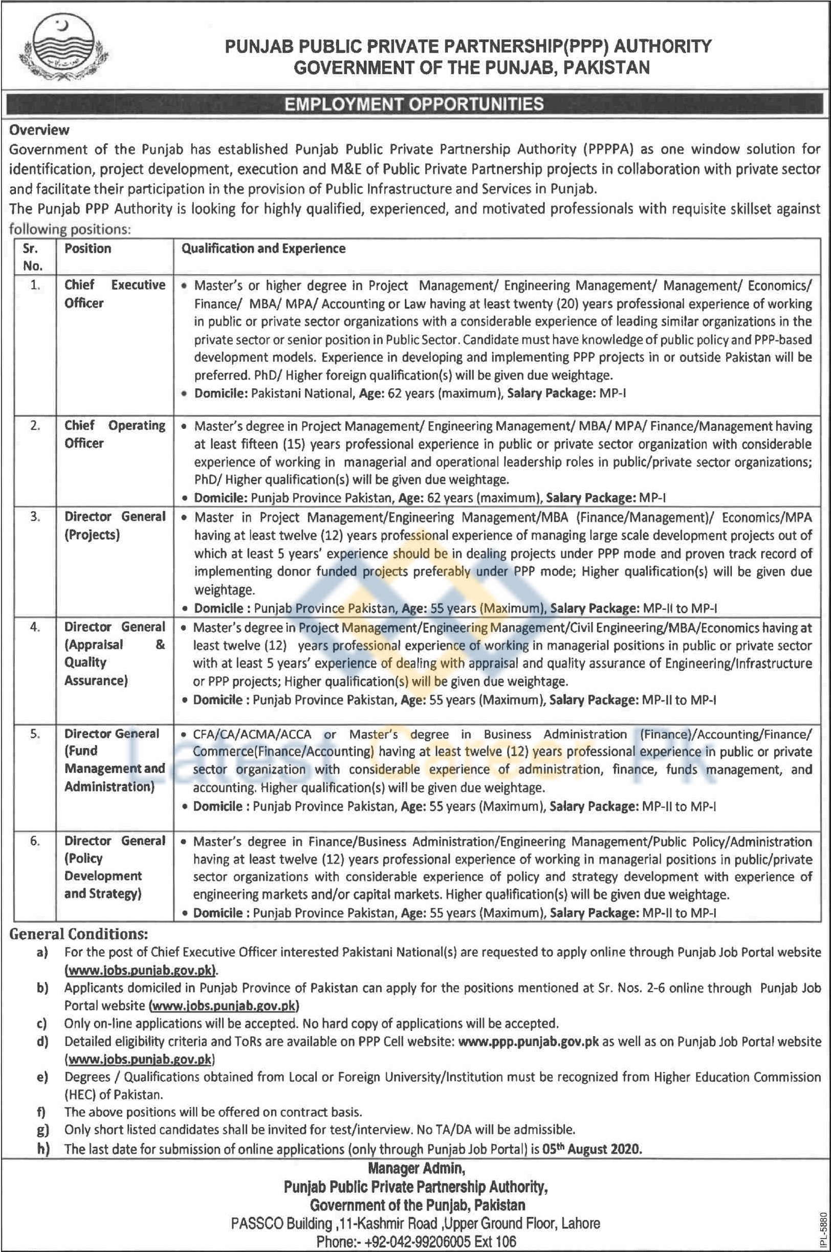 Punjab-Public-Private-Partnership-Authority-PPPPA-Lahore-Jobs-15-July-2020